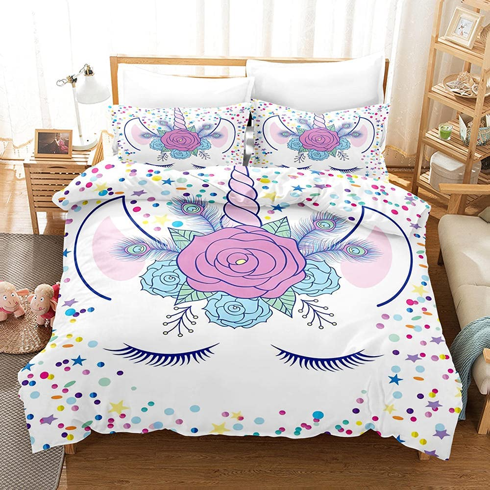 3D Duvet Cover Lucky Directly managed store Unicorn with Printed Zipp Quilt Free shipping on posting reviews