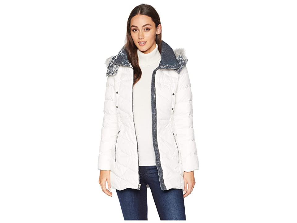 Marc New York by Andrew Marc Chelsea Down Filled Velvet Trim Faux Fur Trim Hood (White) Women