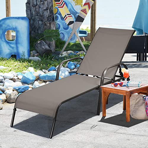 high quality Giantex Adjustable Patio Chaise Lounge, Outdoor Folding Lounge Recliner Chairs w/Adjustable Backrest, Sturdy lowest Metal Frame, outlet online sale All Weather for Beach, Yard, Balcony, Poolside online
