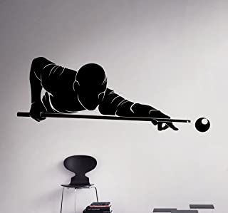 Billiards Player Wall Decal Sport Game Vinyl Sticker Home Decor Ideas Room Interior Removable Wall Art 1(bld)