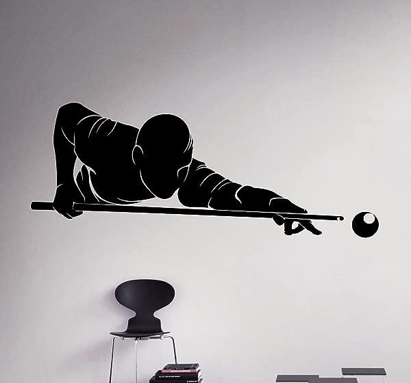 台球玩家墙壁贴花运动游戏乙烯基贴纸家居装饰创意房间室内可移动墙壁艺术 1 Bld