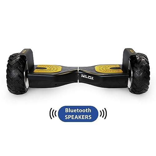 Nilox Hoverboard Doc Off Road UL 2272 avec Bluetooth, Tour Terrain, 8'' pouces, Smart Scooter Gyropode Électrique Skateboard Auto-équilibrage, 360 W, Vitesse maximale 10 km/h, Noir