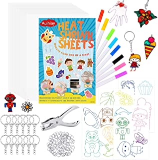 Auihiay 153 Pieces Clear Shrink Plastic Kit Include 20 Clear Shrinky Art Paper, 4 Tracing Sheets, Hole Punch and Keychain Accessories for DIY Ornaments or Creative Craft