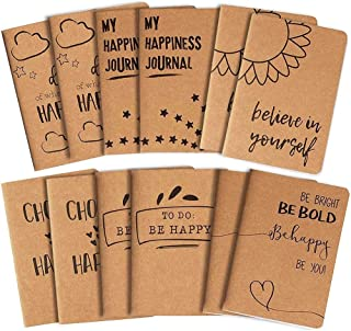 Kraft Notebook Bulk - 12-Pack Lined Pocket Notebook, Travel Journal Set for Diary, and Notes, 6 Different Happiness Design...