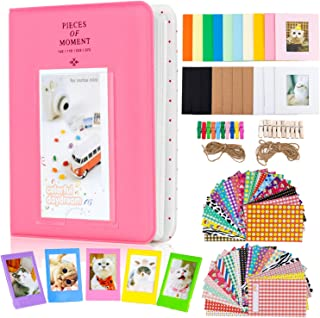 Amimy Photo Album Accessories Conjuntos para Fujifilm Instax Mini 7s 8 8+ 9 25 50s 70 90 Polaroid Snap PIC-300 HP Sprocket Kodak Mini Película de 3 Pulgadas (64 Bolsillos Flamingo Pink)