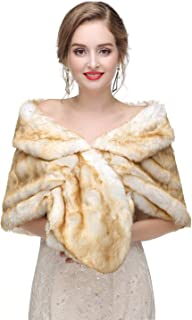 Faux Fur Shawl Wraps Cape Stole for Bridal and Bridesmaids Wedding Cover Up