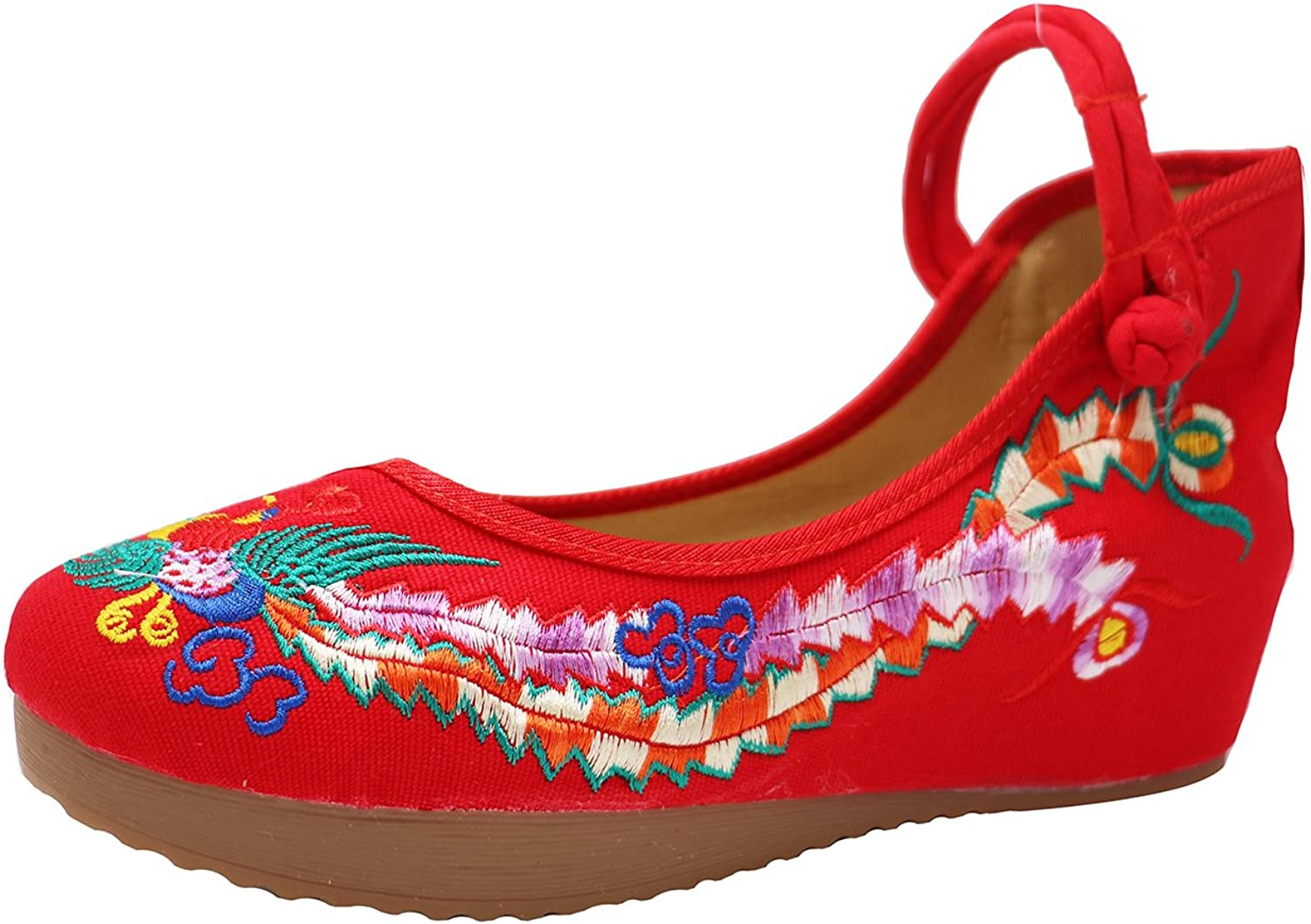 ICEGREY Liveinu Women's Handmade Embroidered Pheonix Wedge Mary Jane shoes
