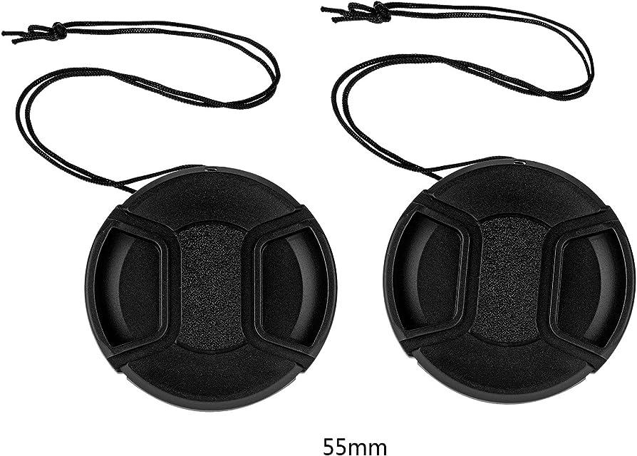 tinxi® Pack de 2 55mm Tapa Objetivo Universal Lens Cap Protector de cámara Frontal Negro para Canon Nikon Sony Olympus Fuji Panasonic Samsung y Otros Lentes de DSLR