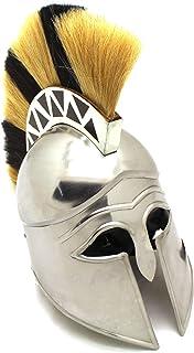 Medieval Warrior Brand 18G Steel Greek Corinthian Armor Helmet w/Plume, Leather Liner and Helmet Free Stand
