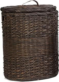 The Basket Lady Oval Wicker Laundry Hamper, X-Large, 23 in L x 19 in W x 29 in H, Antique Walnut Brown