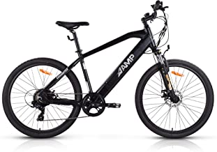 AMP Electric Bicycle eBike for Adults - 350W Electric Assist with Zero Wear Brushless Motor, One Size Fits All Bike Frame – Pedal-Assist, Throttle Control, Off-Road Ability – Battery Within Frame