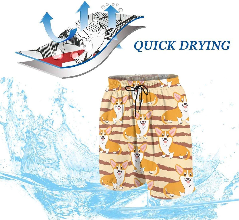 Boys Teens Swim Trunks Corgi Dogs Puppies Quick Dry Beach Board Swim Shorts 7-18T