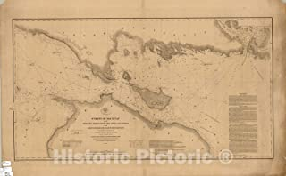 Historic Pictoric Map : Lake Survey Charts, Straits of Mackinac with The approaches thereto from Lakes Huron and Michigan and The Entrance by The Detour Passage to The St. Mary's River : 36in x 22in