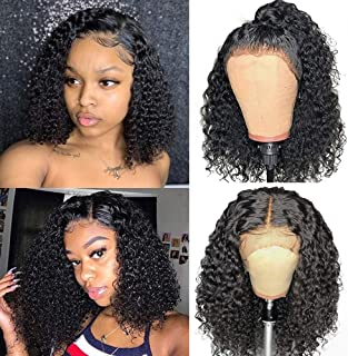 Larhali Short Curly Bob Wigs Brazilian Virgin Human Hair 13x4 Lace Front Wigs Kinky Curly Hair For Black Women Pre Plucked with Baby Hair 150% Density(14inch,13x4)