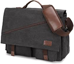 Messenger Bag for Men,Water Resistant Canvas Satchel 14 15.6 17 Inch Laptop Briefcases..