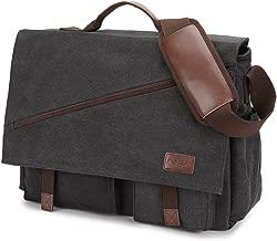 Messenger Bag for Men,Water Resistant Canvas Satchel 14 15.6 17 Inch Laptop Briefcases Business Shoulder Bookbag by RAVUO