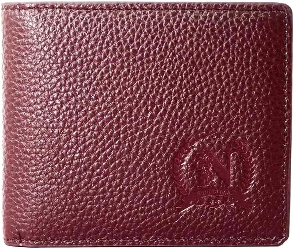Euro bangla portafoglio da uomo in vera pelle porta carte di credito con protezione anticlonazione Rosso Scuro