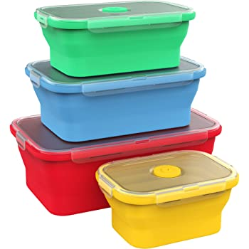 Vremi Silicone Food Storage Containers with BPA Free Airtight Plastic Lids - Set of 4 Small and Large Collapsible Meal Prep Container for Kitchen or Kids Lunch Bento Boxes - Microwave and Freezer Safe