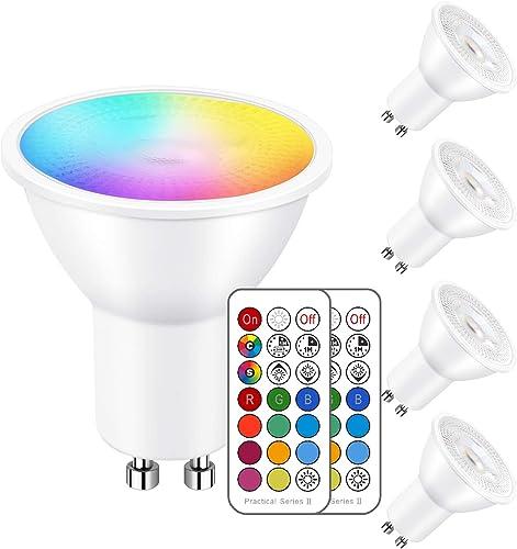iLC Ampoule Led MR16 GU10RGB SpotCulot ledChangementdeCouleur,Ampoules Led RGBWDimmable Blancchaud (2700K) Spo...