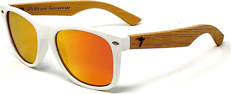 Wooden Polarized Sunglasses  Handmade Real Bamboo Wood Arms Wayfarer Style by Pelican Sunwear