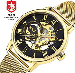 2019 New Men's Luxury Automatic Mechanical Watch for Men Skeleton Watch Dial Design,Waterproof Wrist Watch Self-Wind Fashion Wristwatches Mesh Stainless Steel Strap Roman Numeral