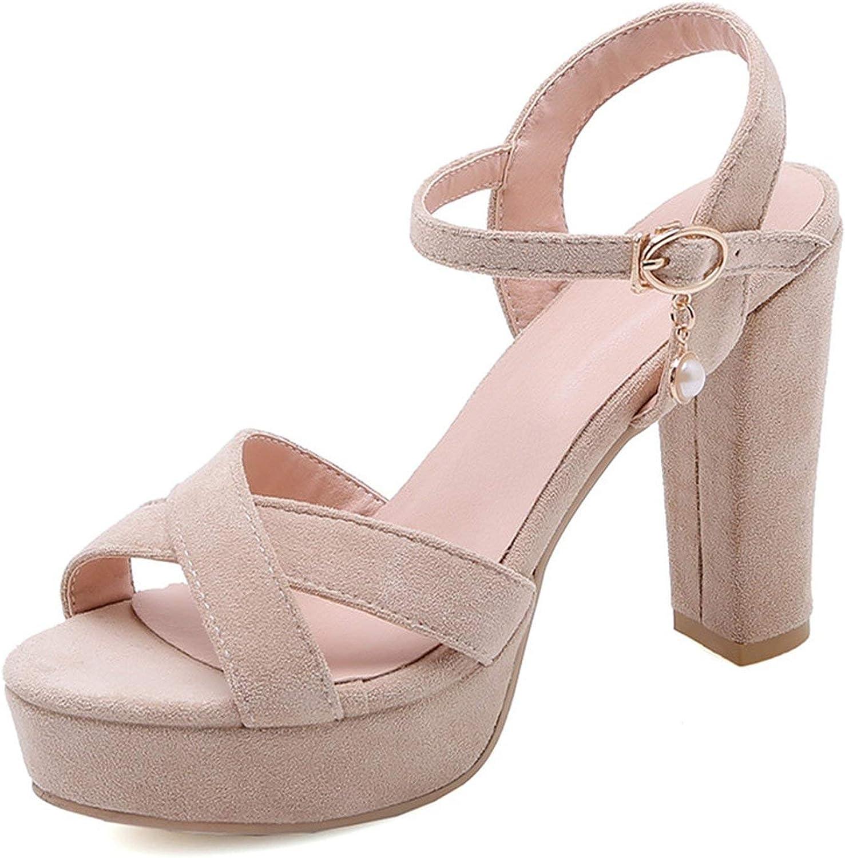 Hi Monkeys-Ssandals Women Sandals Flock peep Toe high Heels shoes Buckle Party Prom shoes Woman