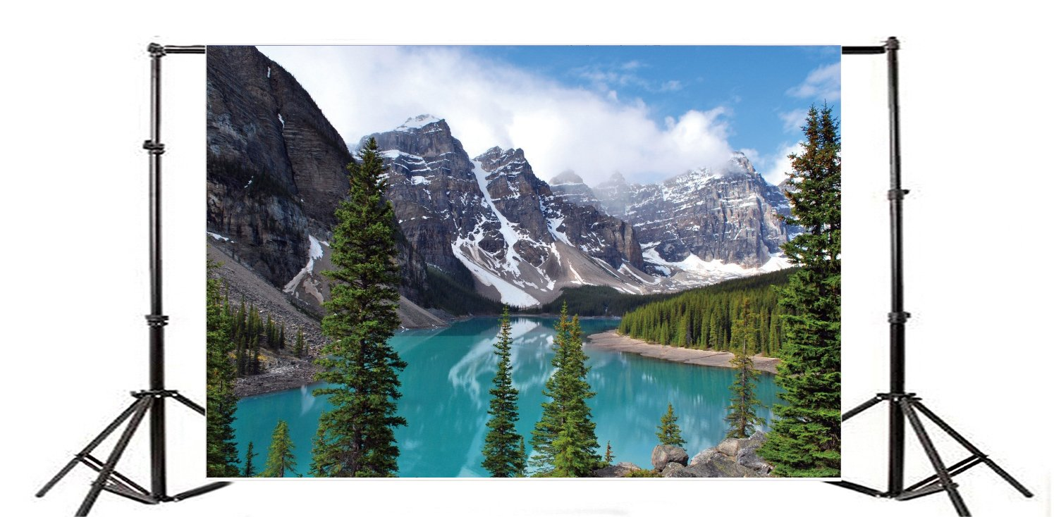 8x12 FT Nature Vinyl Photography Backdrop,Pipestone River Rushes Past Log Lake Louise Village Banff National Park Background for Baby Birthday Party Wedding Studio Props Photography