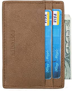 BOSTANTEN Slim Minimalist Front Pocket Leather Wallets for Men Credit Card Holder