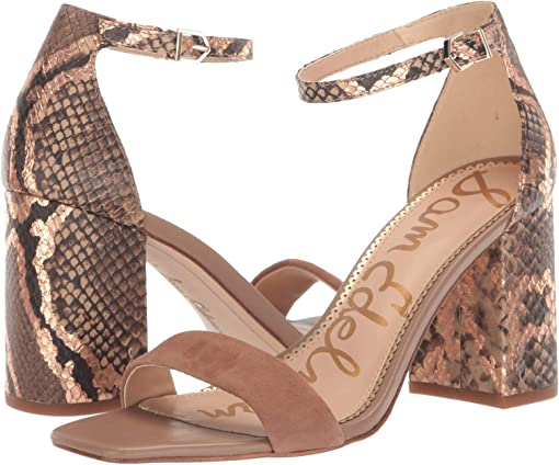Praline Suede Leather/Bahamas Snake Print Leather