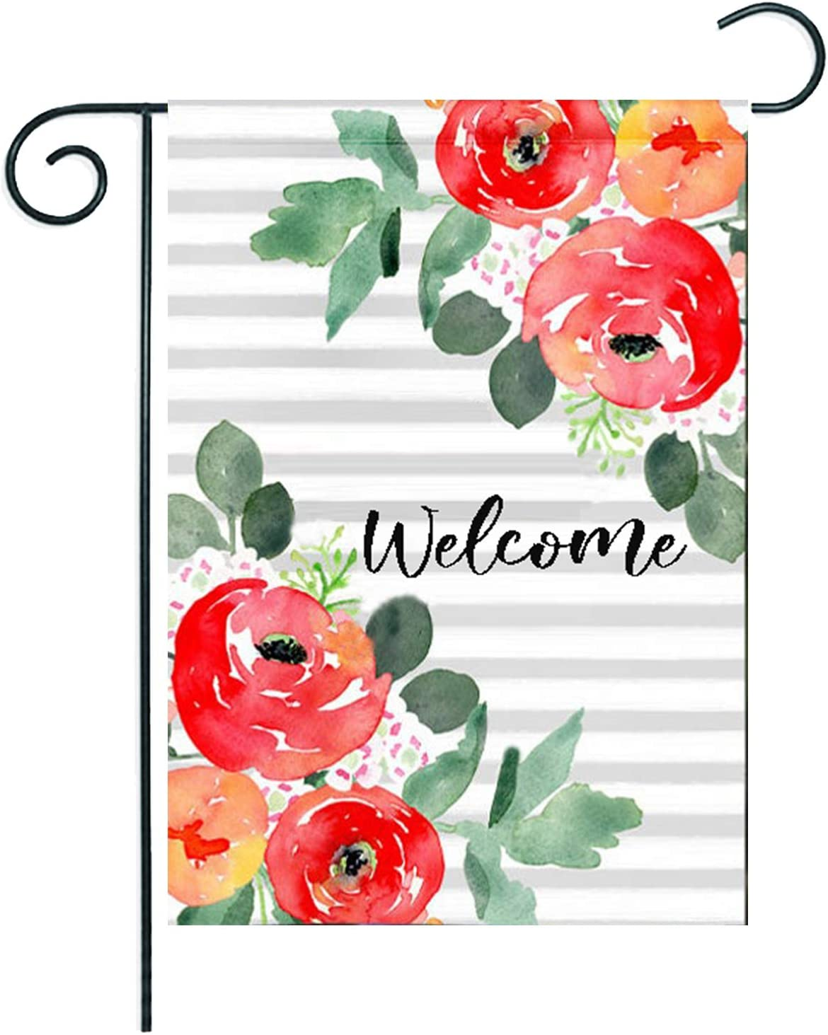 Welcome Watercolor Max 70% OFF Stripes Cluster Flower x 18 Beauty products Garden 12.5 Flag