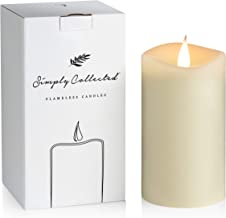 FLAMELESS CANDLES Flickering with Realistic Moving Flame - Romantic Candle Light for a Beautiful Relaxing Home - Real Wax Pillar Candles Battery Operated with Timer (Ivory, 3 x 5 inches)