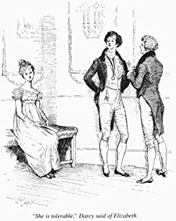 Pride & Prejudice 1894 Nelizabeth Bennet Overhears Mr Darcy At The Ball Illustration By Hugh Thomson From The 1894 Edition...