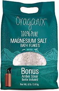 Oraganix Magnesium Salt Bath Flakes. 100% Pure Magnesium Chloride (8 lbs) - Better Absorption Than Epsom Salt Plus 8oz Amb...