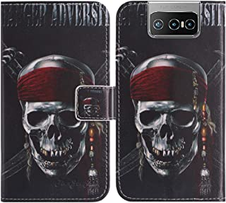 TienJueShi Skull Fashion Stand TPU Silicone Book Stand Flip PU Leather Protector Phone Case For Asus Zenfone 7 Pro ZS671KS...