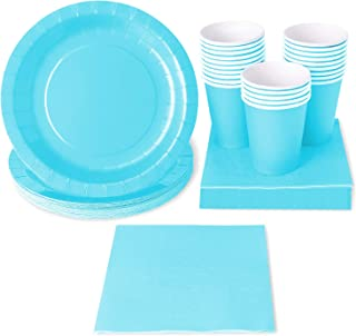 Turquoise Party Supplies (Serves 24 Guests) Disposable Dinnerware Set Includes Paper Plates, Cups and Napkins