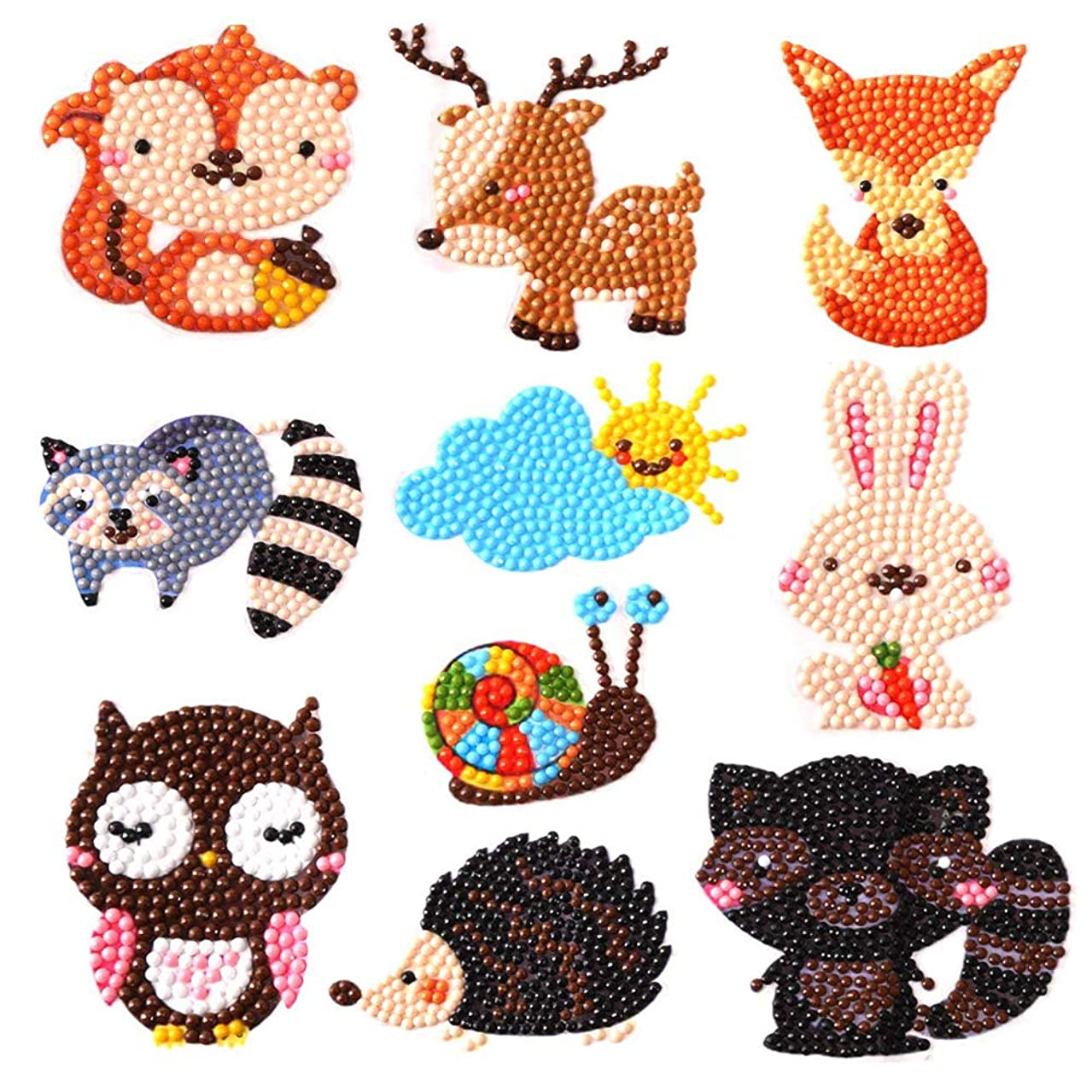 MYSNKU DIY Diamond Painting Kits for Kids DIY Paint by Numbers Handmade Sticker Arts and Crafts for Children (Animal Series)