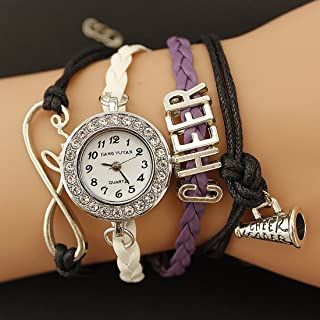 Songlin@yuan PU Woven Strap Cheers GL68 Quartz Movement Bracelet Watch with Lobster Clasp Watch Fashion (Color : Purple)
