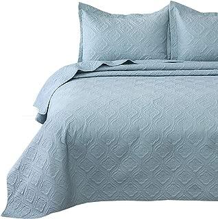 Bedsure Quilt Set Light Blue Twin Size (68x86 inches) - Flower Petal Design - Soft Microfiber Lightweight Coverlet Bedspread for All Season - 2 Pieces Reversible (Includes 1 Quilt, 1 sham)