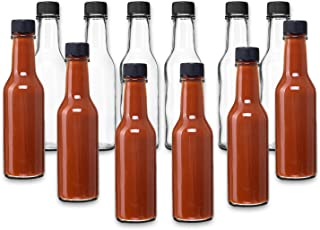 Hot Sauce Woozy Bottles, 5 Oz with Black Caps and Inserts - 12 Pack by PremiumVials …