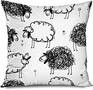 Ahawoso Throw Pillow Cover Square 18x18 Pattern Black Nature White Sheeps On Meadow Animals Wildlife Funny Kid Ewe Happy Wool Comic Doodle Decorative Zippered Cushion Case Home Decor Pillowcase