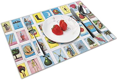 Colorful Mexican Loteria Placemats Set of 4 for Dining Table Washable Placemat Non-Slip Heat Resistant Kitchen Table Mats Easy to Clear