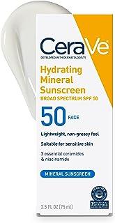CeraVe 100% Mineral Sunscreen SPF 50 | Face Sunscreen with Zinc Oxide & Titanium Dioxide for Sensitive Skin | 2.5 oz, 1 Pa...