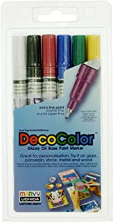 Uchida 1234-6 6-Piece Clamshell Decocolor Extra Fine Paint Markers Multi Pack Set