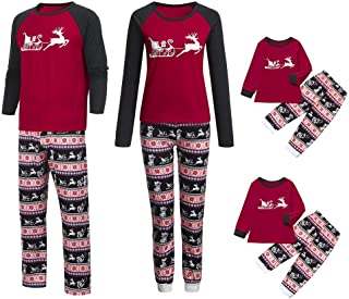 Christmas Family Matching Pajamas Set Mommy Daddy &Me Parents Child Cartoon Xmas Deer Tops + Snowflake Pants
