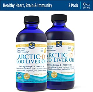 Nordic Naturals Arctic-D Cod Liver Oil, Lemon - 8 oz, Pack of 2-1060 mg Total Omega-3s + 1000 IU Vitamin D3 - EPA & DHA - ...