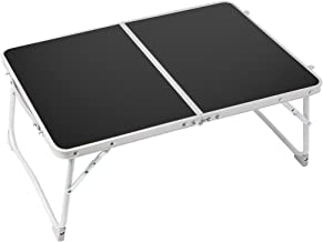Foldable Laptop Table Lap Desk,RAINBEAN Bed Table,Breakfast Serving Tray,Portable Mini Picnic Table Notebook Stand Read Holder for Couch Floor,Folding in Half w' Inner Storage Space,Lightweight-Black
