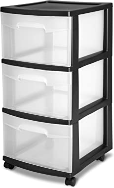 Sterilite 28309002 3 Drawer Cart, Black Frame with Clear Drawers and Black Casters, 2-Pack