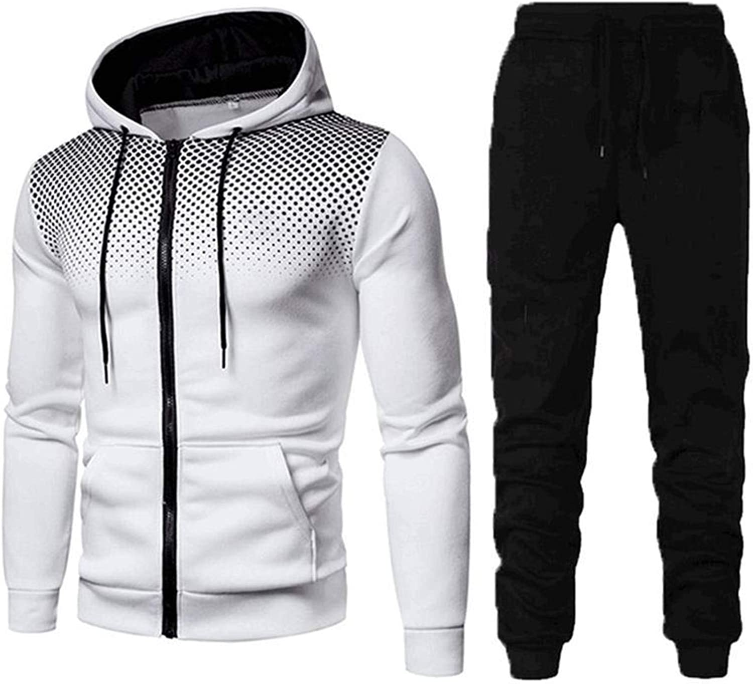 Aayomet Men's Tracksuit Casual Joggers Hoodie Sweatshirt Pants Set Two Piece Sweatsuits Outfits Sports Suit Activewear