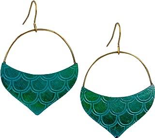 SPUNKYsoul Teal Mermaid Hoop Scale Earrings