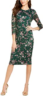 KENSIE Womens Green Embroidered Floral 3/4 Sleeve Jewel Neck Below The Knee Body Con Party Dress AU Size:20